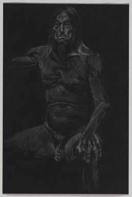Jeremy Deller (British, born 1966). <em>Untitled (Seated Pose) from Iggy Pop Life Class by Jeremy Deller</em>, 2016. White colored pencil on black paper, 9 x 6 in. (22.9 x 15.2 cm). Brooklyn Museum, Brooklyn Museum Collection, 2016.3.3e. © artist or artist's estate (Photo: Brooklyn Museum, 2016.3.3e_PS9.jpg)