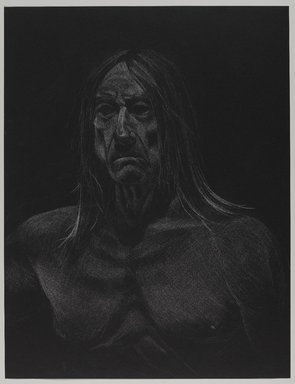 Jeremy Deller (British, born 1966). <em>Untitled (Seated Pose, Detail of Face) from Iggy Pop Life Class by Jeremy Deller</em>, 2016. White colored pencil on black paper, 25 1/2 x 19 3/4 in. (64.8 x 50.2 cm). Brooklyn Museum, Brooklyn Museum Collection, 2016.3.3f. © artist or artist's estate (Photo: Brooklyn Museum, 2016.3.3f_PS9.jpg)