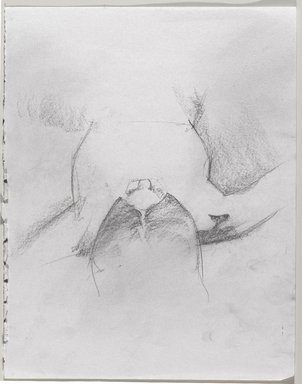 Jeremy Deller (British, born 1966). <em>Untitled (Lying Pose) from Iggy Pop Life Class by Jeremy Deller</em>, 2016. Graphite pencil and powdered graphite on paper, 14 x 11 in. (35.6 x 27.9 cm). Brooklyn Museum, Brooklyn Museum Collection, 2016.3.4b. © artist or artist's estate (Photo: Brooklyn Museum, 2016.3.4b_PS9.jpg)