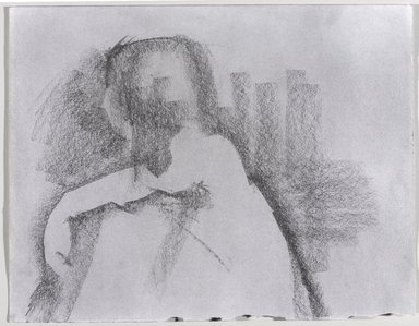 Jeremy Deller (British, born 1966). <em>Untitled (Sitting Pose) from Iggy Pop Life Class by Jeremy Deller</em>, 2016. Graphite pencil and powdered graphite on paper, 11 x 14 in. (27.9 x 35.6 cm). Brooklyn Museum, Brooklyn Museum Collection, 2016.3.4d. © artist or artist's estate (Photo: Brooklyn Museum, 2016.3.4d_PS9.jpg)