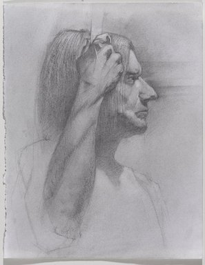 Jeremy Deller (British, born 1966). <em>Untitled (Seated Pose) from Iggy Pop Life Class by Jeremy Deller</em>, 2016. Graphite pencil and powdered graphite with erasing on paper, 14 x 11 in. (35.6 x 27.9 cm). Brooklyn Museum, Brooklyn Museum Collection, 2016.3.4e. © artist or artist's estate (Photo: Brooklyn Museum, 2016.3.4e_PS9.jpg)