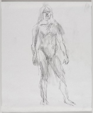Jeremy Deller (British, born 1966). <em>Untitled (Standing Pose) from Iggy Pop Life Class by Jeremy Deller</em>, 2016. Graphite pencil with erasing on paper, 16 3/4 x 14 in. (42.5 x 35.6 cm). Brooklyn Museum, Brooklyn Museum Collection, 2016.3.5a. © artist or artist's estate (Photo: Brooklyn Museum, 2016.3.5a_PS9.jpg)