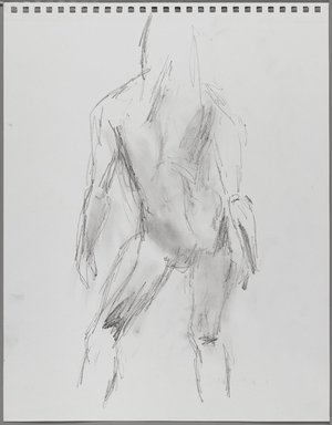 Jeremy Deller (British, born 1966). <em>Untitled (Standing Pose) from Iggy Pop Life Class by Jeremy Deller</em>, 2016. Graphite pencil with erasing on paper, 17 3/4 x 14 in. (45.1 x 35.6 cm). Brooklyn Museum, Brooklyn Museum Collection, 2016.3.5c. © artist or artist's estate (Photo: Brooklyn Museum, 2016.3.5c_PS4.jpg)