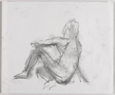 Jeremy Deller (British, born 1966). <em>Untitled (Sitting Pose) from Iggy Pop Life Class by Jeremy Deller</em>, 2016. Graphite pencil with erasing on paper, 14 × 17 in. (35.6 × 43.2 cm). Brooklyn Museum, Brooklyn Museum Collection, 2016.3.5d. © artist or artist's estate (Photo: Brooklyn Museum, 2016.3.5d_PS9.jpg)