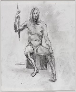 Jeremy Deller (British, born 1966). <em>Untitled (Seated Pose) from Iggy Pop Life Class by Jeremy Deller</em>, 2016. Graphite pencil with erasing on paper, 16 7/8 x 14 in. (42.9 x 35.6 cm). Brooklyn Museum, Brooklyn Museum Collection, 2016.3.5e. © artist or artist's estate (Photo: Brooklyn Museum, 2016.3.5e_PS9.jpg)