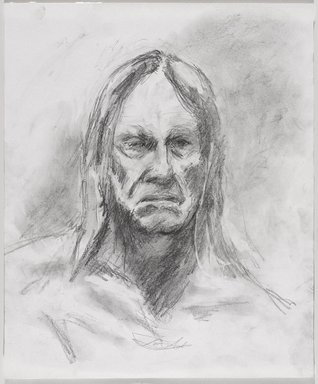 Jeremy Deller (British, born 1966). <em>Untitled (Seated Pose, Detail of Face) from Iggy Pop Life Class by Jeremy Deller</em>, 2016. Graphite pencil with erasing on paper, 16 3/4 x 14 in. (42.5 x 35.6 cm). Brooklyn Museum, Brooklyn Museum Collection, 2016.3.5f. © artist or artist's estate (Photo: Brooklyn Museum, 2016.3.5f_PS9.jpg)