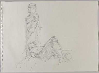 Jeremy Deller (British, born 1966). <em>Untitled (Two Poses: Standing and Lying) from Iggy Pop Life Class by Jeremy Deller</em>, 2016. Graphite pencil on paper, 18 x 24 1/2 in. (45.7 x 62.2 cm). Brooklyn Museum, Brooklyn Museum Collection, 2016.3.6a. © artist or artist's estate (Photo: Brooklyn Museum, 2016.3.6a_PS9.jpg)