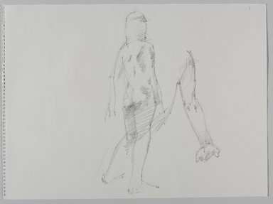 Jeremy Deller (British, born 1966). <em>Untitled (Two Poses: Standing and Detail of Sitting) from Iggy Pop Life Class by Jeremy Deller</em>, 2016. Graphite pencil on paper, 18 x 24 1/2 in. (45.7 x 62.2 cm). Brooklyn Museum, Brooklyn Museum Collection, 2016.3.6b. © artist or artist's estate (Photo: Brooklyn Museum, 2016.3.6b_PS9.jpg)