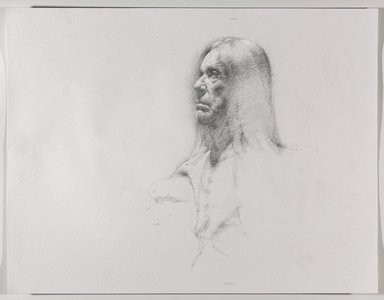 Jeremy Deller (British, born 1966). <em>Untitled (Seated Pose, Detail of Face) from Iggy Pop Life Class by Jeremy Deller</em>, 2016. Graphite pencil with touches of white chalk on paper, 19 7/8 x 25 1/2 in. (50.5 x 64.8 cm). Brooklyn Museum, Brooklyn Museum Collection, 2016.3.6c. © artist or artist's estate (Photo: Brooklyn Museum, 2016.3.6c_PS9.jpg)
