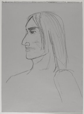 Jeremy Deller (British, born 1966). <em>Untitled (Seated Pose, Detail of Face) from Iggy Pop Life Class by Jeremy Deller</em>, 2016. Graphite pencil on gray paper, 24 5/8 × 18 in. (62.5 × 45.7 cm). Brooklyn Museum, Brooklyn Museum Collection, 2016.3.7a. © artist or artist's estate (Photo: Brooklyn Museum, 2016.3.7a_PS9.jpg)