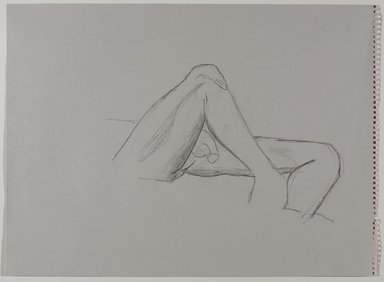 Jeremy Deller (British, born 1966). <em>Untitled (Lying Pose) from Iggy Pop Life Class by Jeremy Deller</em>, 2016. Graphite pencil on gray paper, 18 × 24 5/8 in. (45.7 × 62.5 cm). Brooklyn Museum, Brooklyn Museum Collection, 2016.3.7b. © artist or artist's estate (Photo: Brooklyn Museum, 2016.3.7b_PS9.jpg)