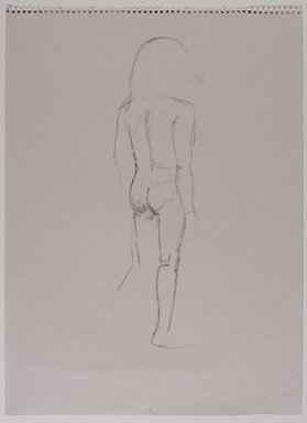 Jeremy Deller (British, born 1966). <em>Untitled (Standing Pose) from Iggy Pop Life Class by Jeremy Deller</em>, 2016. Graphite pencil on light cool gray paper, 24 5/8 × 18 in. (62.5 × 45.7 cm). Brooklyn Museum, Brooklyn Museum Collection, 2016.3.7c. © artist or artist's estate (Photo: Brooklyn Museum, 2016.3.7c_PS9.jpg)