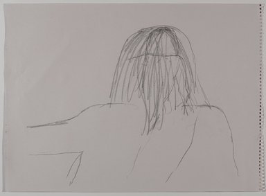 Jeremy Deller (British, born 1966). <em>Untitled (Sitting Pose) from Iggy Pop Life Class by Jeremy Deller</em>, 2016. Graphite pencil on purple paper, 18 × 24 5/8 in. (45.7 × 62.5 cm). Brooklyn Museum, Brooklyn Museum Collection, 2016.3.7d. © artist or artist's estate (Photo: Brooklyn Museum, 2016.3.7d_PS9.jpg)