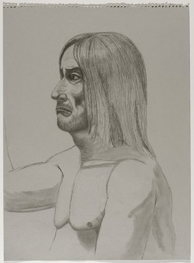 Jeremy Deller (British, born 1966). <em>Untitled (Seated Pose) from Iggy Pop Life Class by Jeremy Deller</em>, 2016. Graphite pencil, compressed charcoal, and white colored pencil on gray paper, 24 1/2 x 18 in. (62.2 x 45.7 cm). Brooklyn Museum, Brooklyn Museum Collection, 2016.3.7e. © artist or artist's estate (Photo: Brooklyn Museum, 2016.3.7e_PS9.jpg)