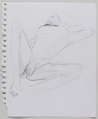 Jeremy Deller (British, born 1966). <em>Untitled (Lying Pose) from Iggy Pop Life Class by Jeremy Deller</em>, 2016. Graphite pencil on paper, 11 × 9 in. (27.9 × 22.9 cm). Brooklyn Museum, Brooklyn Museum Collection, 2016.3.8b. © artist or artist's estate (Photo: Brooklyn Museum, 2016.3.8b_PS9.jpg)