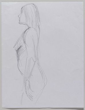 Jeremy Deller (British, born 1966). <em>Untitled (Standing Pose) from Iggy Pop Life Class by Jeremy Deller</em>, 2016. Graphite pencil on paper, 11 × 8 1/2 in. (27.9 × 21.6 cm). Brooklyn Museum, Brooklyn Museum Collection, 2016.3.8c. © artist or artist's estate (Photo: Brooklyn Museum, 2016.3.8c_PS9.jpg)