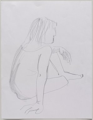 Jeremy Deller (British, born 1966). <em>Untitled (Sitting Pose) from Iggy Pop Life Class by Jeremy Deller</em>, 2016. Graphite pencil on paper, 11 × 8 1/2 in. (27.9 × 21.6 cm). Brooklyn Museum, Brooklyn Museum Collection, 2016.3.8d. © artist or artist's estate (Photo: Brooklyn Museum, 2016.3.8d_PS9.jpg)