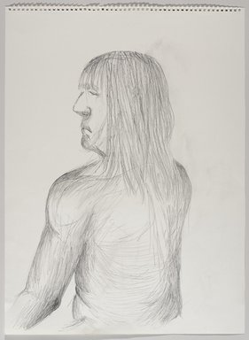 Jeremy Deller (British, born 1966). <em>Untitled (Seated Pose) from Iggy Pop Life Class by Jeremy Deller</em>, 2016. Graphite pencil on paper, 24 1/2 x 18 1/16 in. (62.2 x 45.9 cm). Brooklyn Museum, Brooklyn Museum Collection, 2016.3.8e. © artist or artist's estate (Photo: Brooklyn Museum, 2016.3.8e_PS9.jpg)