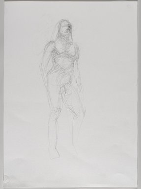 Jeremy Deller (British, born 1966). <em>Untitled (Standing Pose) from Iggy Pop Life Class by Jeremy Deller</em>, 2016. Graphite pencil on paper, 24 x 18 in. (61 x 45.7 cm). Brooklyn Museum, Brooklyn Museum Collection, 2016.3.9a. © artist or artist's estate (Photo: Brooklyn Museum, 2016.3.9a_PS9.jpg)