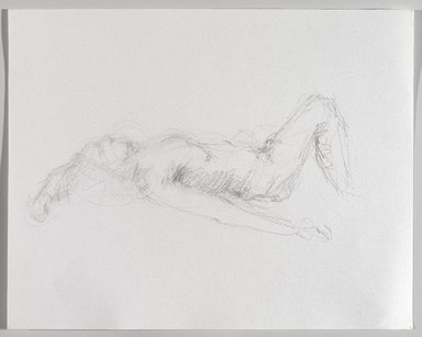 Jeremy Deller (British, born 1966). <em>Untitled (Lying Pose) from Iggy Pop Life Class by Jeremy Deller</em>, 2016. Graphite pencil on paper, 11 1/2 × 14 1/2 in. (29.2 × 36.8 cm). Brooklyn Museum, Brooklyn Museum Collection, 2016.3.9b. © artist or artist's estate (Photo: Brooklyn Museum, 2016.3.9b_PS9.jpg)