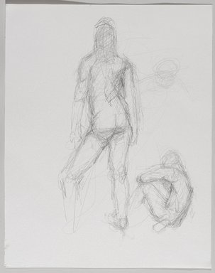 Jeremy Deller (British, born 1966). <em>Untitled (Two Poses: Standing and Sitting) from Iggy Pop Life Class by Jeremy Deller</em>, 2016. Graphite pencil on paper, 14 1/2 × 11 1/2 in. (36.8 × 29.2 cm). Brooklyn Museum, Brooklyn Museum Collection, 2016.3.9c. © artist or artist's estate (Photo: Brooklyn Museum, 2016.3.9c_PS9.jpg)