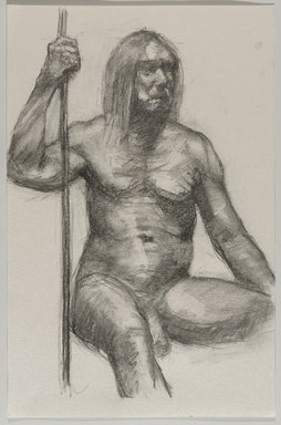 Jeremy Deller (British, born 1966). <em>Untitled (Seated Pose) from Iggy Pop Life Class by Jeremy Deller</em>, 2016. Natural charcoal on paper, 6 x 4 in. (15.2 x 10.2 cm). Brooklyn Museum, Brooklyn Museum Collection, 2016.3.9d. © artist or artist's estate (Photo: Brooklyn Museum, 2016.3.9d_PS9.jpg)