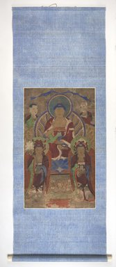 Korean. <em>Painting of the Yong San Assembly: Shakyamuni Buddha with Manjushri, Samantabhadra, and Two Arhats</em>, early 19th century. Hanging scroll: color on cloth, Overall: 86 1/2 × 35 1/2 in. (219.7 × 90.2 cm). Brooklyn Museum, Carroll Family Collection, 2017.29.42 (Photo: , 2017.29.42_PS11.jpg)