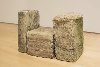Beverly Buchanan (American, 1940-2015). <em>Untitled (Frustula Series)</em>, ca. 1978. Cast concrete, a: 20 x 10 x 16 in. (50.8 x 25.4 x 40.6 cm). Brooklyn Museum, Gift of Arden Scott, 2017, 2017.9a-c. © artist or artist's estate (Photo: , 2017.9a-c_WWAR_in_situ_PS11.jpg)