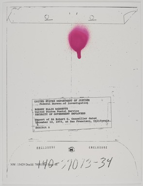 Sadie Barnette (American, born 1984). <em>My Father's FBI File; Government Employees Installation</em>, Photographed 2017, printed 2018. Inkjet print, sheet: 22 × 17 in. (55.9 × 43.2 cm). Brooklyn Museum, Emily Winthrop Miles Fund and Alfred T. White Fund, 2018.11a-e. © artist or artist's estate (Photo: Brooklyn Museum, 2018.11a_PS9.jpg)