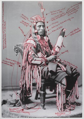 Wendy Red Star (Apsáalooke (Crow), born 1981). <em>Peelatchiwaaxpáash / Medicine Crow (Raven)</em>, 2014. Inkjet print, each panel: 25 × 17 in. (63.5 × 43.2 cm). Brooklyn Museum, Gift of Loren G. Lipson, M.D., 2018.19.1a. © artist or artist's estate (Photo: , 2018.19.1a_PS9.jpg)