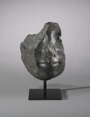 <em>Head of a King or God</em>, ca. 1938-1759 B.C.E. Granodiorite with feldspar phenocrystals, 6 1/2 × 5 5/16 × 2 3/8 in., 3.5 lb. (16.5 × 13.5 × 6 cm, 1.59kg). Brooklyn Museum, Gift of David Curzon, 2018.4. Creative Commons-BY (Photo: , 2018.4 _overall_PS9.jpg)