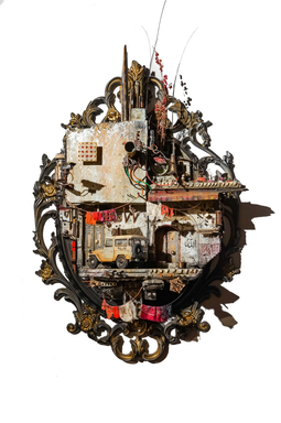 Mohamad Hafez (Syrian, born 1984). <em>Damascene Athan, 7</em>, 2017. Mixed media, plaster, pigment, found objects, audio recording, 34 × 24 × 8 in. (86.4 × 61.0 × 20.3 cm). Brooklyn Museum, Gift of the Barjeel Art Foundation, 2018.40a-b (Photo: , 2018.40a-b_view01.jpg)