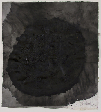 Zhang Jian-Jun (Chinese, born 1955). <em>Ink Sun Series #2</em>, 2012. Chinese ink, water, fire, on paper, 63 3/4 × 57 1/2 in. (162.0 × 146.0 cm). Brooklyn Museum, Gift of Dr. and Mrs. John P. Lyden, by exchange, 2018.45. © artist or artist's estate (Photo: , 2018.45.jpg)