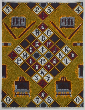Vlisco B.V.. <em>Wax Print Textile, ABC Pattern</em>, ca. 2018. Cotton, synthetic dye, 36 × 36 in. (91.4 × 91.4 cm). Brooklyn Museum, Gift of Vlisco B.V., 2019.1.5 (Photo: , 2019.1.5_PS9.jpg)