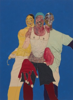 Tschabalala Self (American, born 1990). <em>Piss</em>, 2019. Painted canvas, fabric, oil, acrylic, flashe, and gouache on canvas, 68 × 50 in. (172.7 × 127.0 cm). Brooklyn Museum, Gift of The Dean Collection, 2020.15. © artist or artist's estate (Photo: Brooklyn Museum, 2020.15_view03_PS11.jpg)
