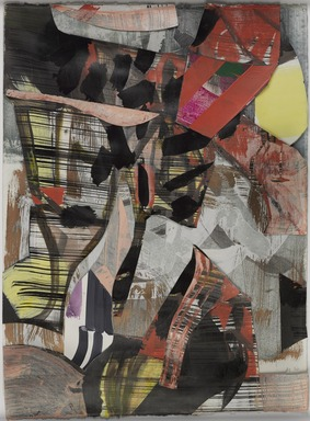 Amy Sillman (American, born 1955). <em>GPTS3</em>, 2020. Collage, 26 7/8 × 20 in. (68.3 × 50.8 cm). Brooklyn Museum, Purchase gift of Stephanie and Tim Ingrassia, 2020.19. © artist or artist's estate (Photo: Brooklyn Museum, 2020.19_PS11.jpg)