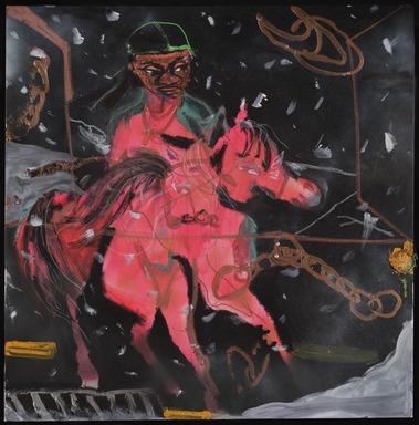 Jonathan Lyndon Chase (American, born 1989). <em>Loose Chain</em>, 2020. Spray paint, glitter, plastic diamond, acrylic on canvas, 36 × 36 in. (91.4 × 91.4 cm). Brooklyn Museum, Gift of The Sobaszek Family, 2020.29. © artist or artist's estate (Photo: Brooklyn Museum, 2020.29_PS11.jpg)