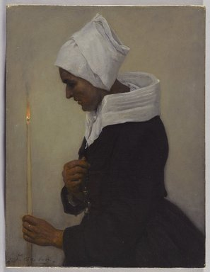 Jules Breton (French, 1827-1906). <em>Breton Peasant Woman Holding a Taper</em>, ca. 1869. Oil on canvas, 12 x 9 in.  (30.5 x 22.9 cm). Brooklyn Museum, Bequest of William H. Herriman, 21.102 (Photo: Brooklyn Museum, 21.102_PS9.jpg)