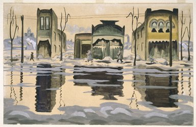 Charles Burchfield (American, 1893-1967). <em>February Thaw</em>, 1920. Watercolor, 17 15/16 x 27 15/16 in. (45.6 x 71 cm). Brooklyn Museum, John B. Woodward Memorial Fund, 21.104. © artist or artist's estate (Photo: Brooklyn Museum, 21.104_SL1.jpg)