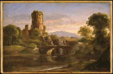 Thomas Cole (American, born England, 1801-1848). <em>Ruined Castle and River</em>, ca. 1832. Oil on canvas, 7 15/16 x 12 1/2 in. (20.2 x 31.7 cm). Brooklyn Museum, Bequest of Samuel E. Haslett, 21.107 (Photo: , 21.107_SL3.jpg)