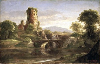 Thomas Cole (American, born England, 1801-1848). <em>Ruined Castle and River</em>, ca. 1832. Oil on canvas, 7 15/16 x 12 1/2 in. (20.2 x 31.7 cm). Brooklyn Museum, Bequest of Samuel E. Haslett, 21.107 (Photo: Brooklyn Museum, 21.107_transp786.jpg)