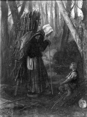 Alexandre-Gabriel Decamps (French, 1803-1860). <em>Old Woman and Boy in a Forest</em>, ca. 1848-1849. Oil on canvas, 13 x 9 3/4 in.  (33.0 x 24.8 cm). Brooklyn Museum, Bequest of William H. Herriman, 21.110 (Photo: Brooklyn Museum, 21.110_acetate_bw.jpg)