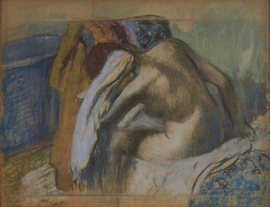 Edgar Degas (French, 1834-1917). <em>Woman Drying Her Hair (Femme s'essuyant les cheveux)</em>, ca. 1889. Pastel and charcoal on translucent papers, 33 1/8 x 41 1/2 in. (84.1 x 105.4 cm). Brooklyn Museum, Museum Collection Fund, 21.113 (Photo: , 21.113_PS9.jpg)
