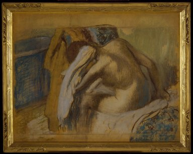 Edgar Degas (French, 1834-1917). <em>Woman Drying Her Hair (Femme s'essuyant les cheveux)</em>, ca. 1889. Pastel and charcoal, 33 1/8 x 41 1/2 in. (84.1 x 105.4 cm). Brooklyn Museum, Museum Collection Fund, 21.113 (Photo: Brooklyn Museum, 21.113_SL3.jpg)