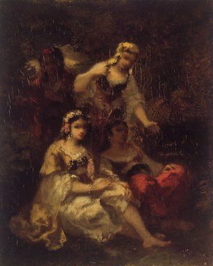 Narcisse-Virgile Diaz de la Peña (French, 1807-1876). <em>Four Spanish Maidens</em>, 1844-1860. Oil on panel, 10 5/8 x 8 1/2 in. (27.0 x 21.6 cm). Brooklyn Museum, Bequest of William H. Herriman, 21.117 (Photo: Brooklyn Museum, 21.117.jpg)