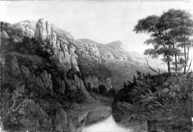 J. Hall (possibly James D. Hall) (American, active ca. 1850). <em>Mountain Landscape</em>, 1853. Oil on canvas, 19 13/16 x 29 1/8 in. (50.4 x 74 cm). Brooklyn Museum, Bequest of Samuel E. Haslett, 21.118 (Photo: Brooklyn Museum, 21.118_bw.jpg)