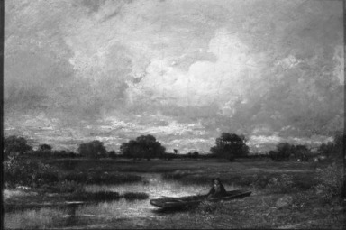 Jules Dupré (French, 1811-1889). <em>On the Marsh</em>, 1850. Oil on canvas mounted on masonite, 15 3/4 x 23 1/4 in.  (40.0 x 59.1 cm). Brooklyn Museum, Bequest of William H. Herriman, 21.120 (Photo: Brooklyn Museum, 21.120_acetate_bw.jpg)