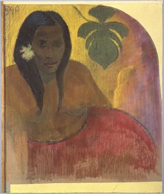 Paul Gauguin (French, 1848-1903). <em>Tahitian Woman</em>, ca. 1894. Charcoal and pastel on paper, glued to yellow wove paper and mounted on grey millboard, 21 5/8 x 19 1/2 in.  (54.9 x 49.5 cm). Brooklyn Museum, Museum Collection Fund, 21.125 (Photo: Brooklyn Museum, 21.125_SL1.jpg)