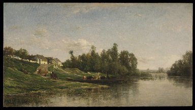 Charles-François Daubigny (French, 1817-1878). <em>River Scene</em>, 1859. Oil on panel, 14 1/4 x 25 3/4 in. (36.2 x 65.4 cm). Brooklyn Museum, Bequest of William H. Herriman, 21.134 (Photo: Brooklyn Museum, 21.134_SL1.jpg)