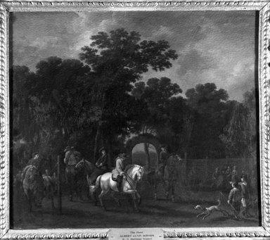 Attributed to Abraham Pietersz. van Calraet (Dutch, 1642-1722). <em>A Riding School, or Breaking in Horses</em>. Oil on panel, 16 9/16 x 19 7/16 in. (42.1 x 49.4 cm). Brooklyn Museum, Bequest of William H. Herriman, 21.135 (Photo: Brooklyn Museum, 21.135_acetate_bw.jpg)